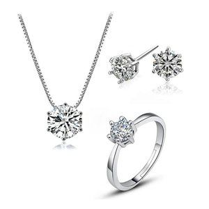 [Set of 3] 925 Sterling Silver Solitaire Diamond